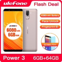 Ulefone Power 3 Smartphone FHD +, pantalla de 6080mAh, Batería grande, Android, identificación facial, 6GB RAM, 64GB rom, ID táctil, cámara de 21,0mp