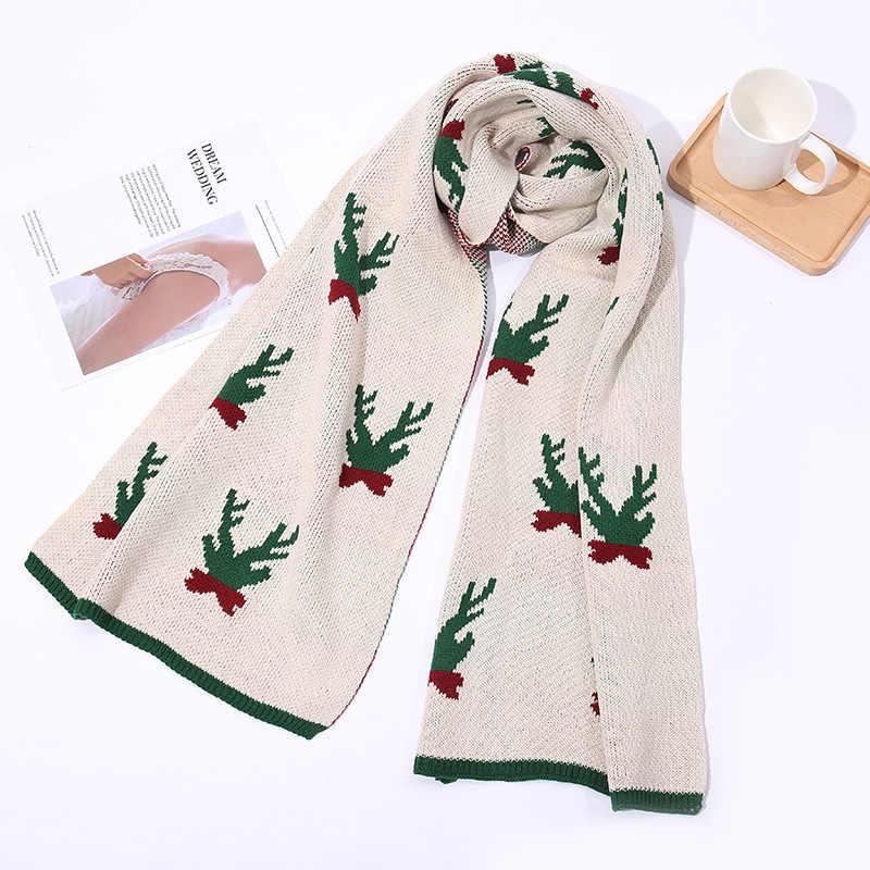 Musim Dingin Rajutan Syal Wanita Gadis Korea Sweet Vintage Natal Yang Indah Elks Cetak 2 In 1 Selendang Hangat Panjang Blacket Syal merah