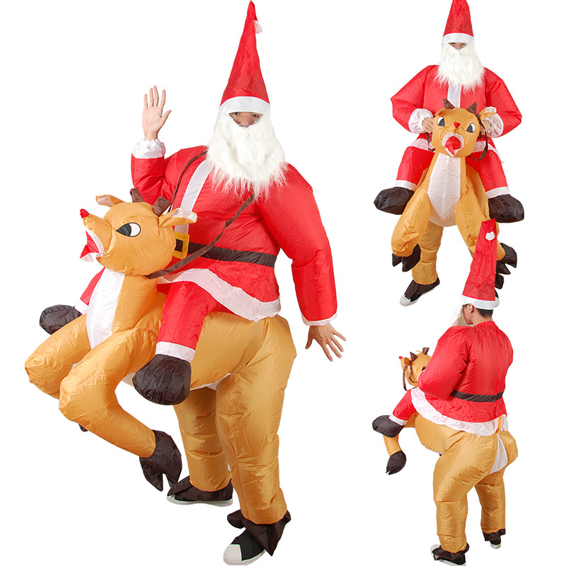 Christmas Inflatable Mascot Cartoon Doll Costume Reindeer Dress Up Props Riding Deer Santa Claus Inflatable Clothes Adult