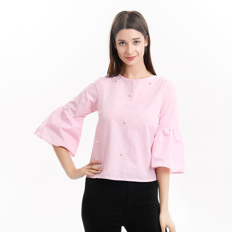 Женская футболка на весну и лето с длинным рукавом, свободный перламутровый топ с расклешенными рукавами, женские повседневные стильные