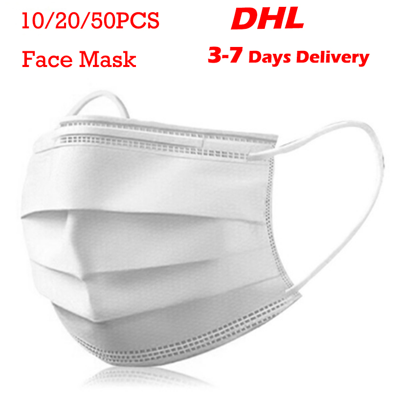 Disposable Face Mouth Mask 3-ply Anti Virus Blue White Mouth Face Mask Prevent Anti-Dust Bacteria Proof Flu Kind Mask In Stock