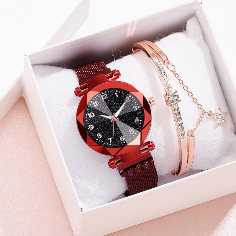 Luxury Rose Gold Women Watches Starry Sky Magnet Buckle Minimalism Fashion Casual Female Wristwatch Waterproof Numeral Clock