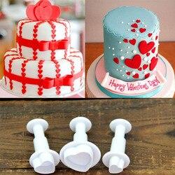3 sztuk/zestaw hortensja silikonowa kremówka ciasto dekorowanie SugarCraft wycinaki tłokowe kwiat kwiat formy miłość serce domowe ciasto narzędzia Formy do ciast Dom i ogród -