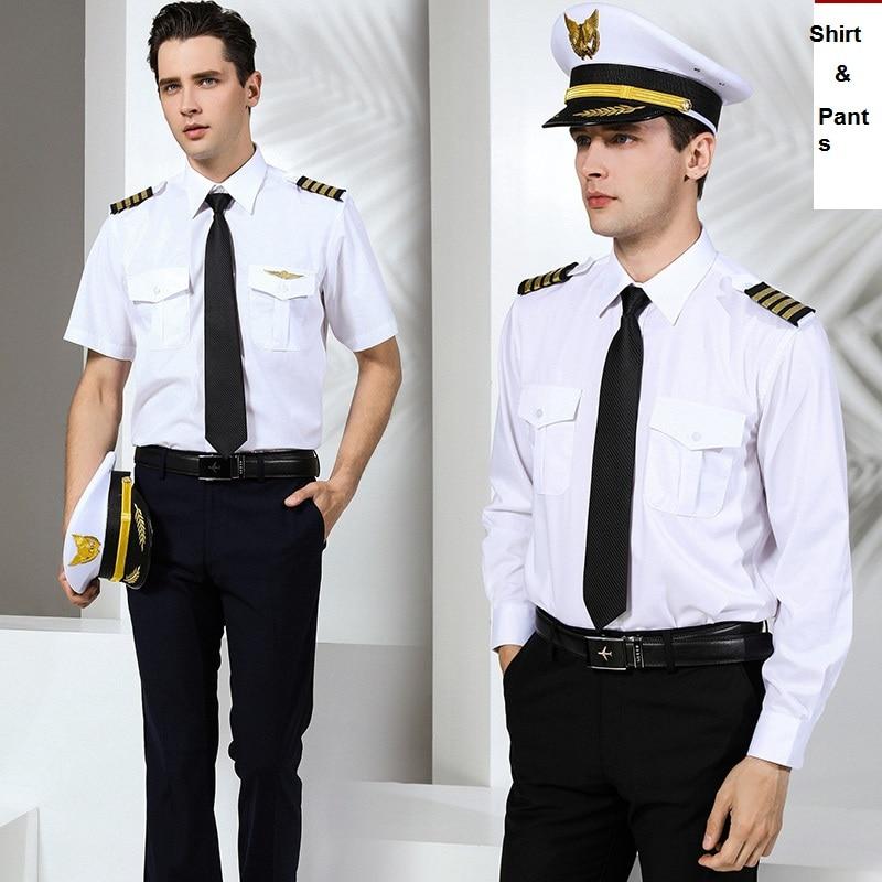 International Air Line Uniform Suits Shirt + Pants Male Captain Uniform Pilot Clothing Aviation School College Garment