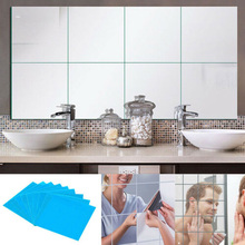stylish circle mirror wall clock stickers home decals 16x 15CM Square Mirror Glass Tile Wall Stickers Decals Mosaic Home Bathroom Living Room Decor DIY Long Wall Mirror Stickers