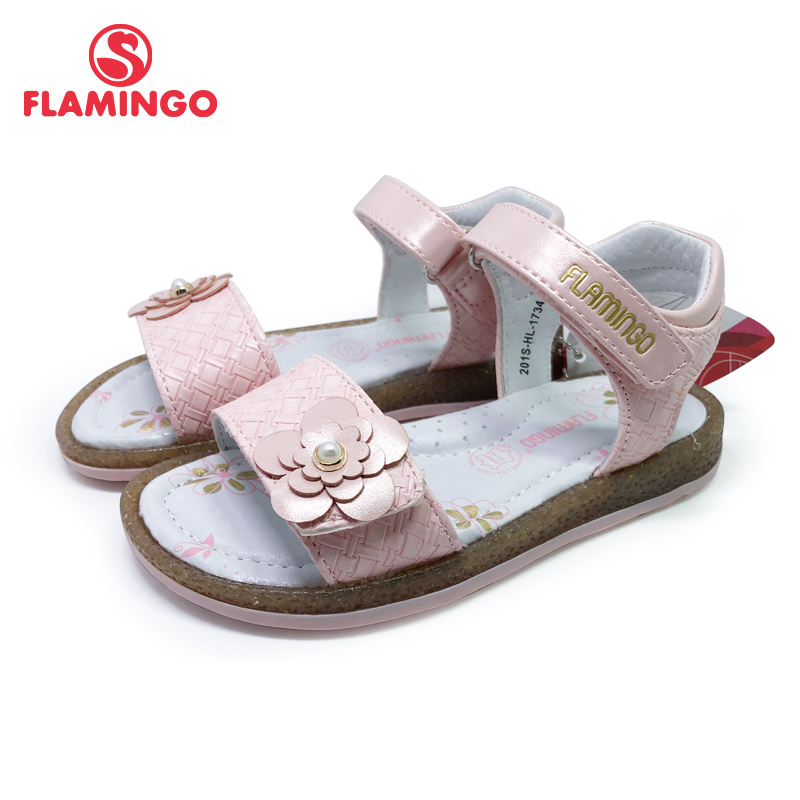FLAMINGO Brand Cut-Outs Summer Hook&Loop Casual Sandals Leather Insole Pricness Outdoor Little Shoes Flat 201S-HL-1734