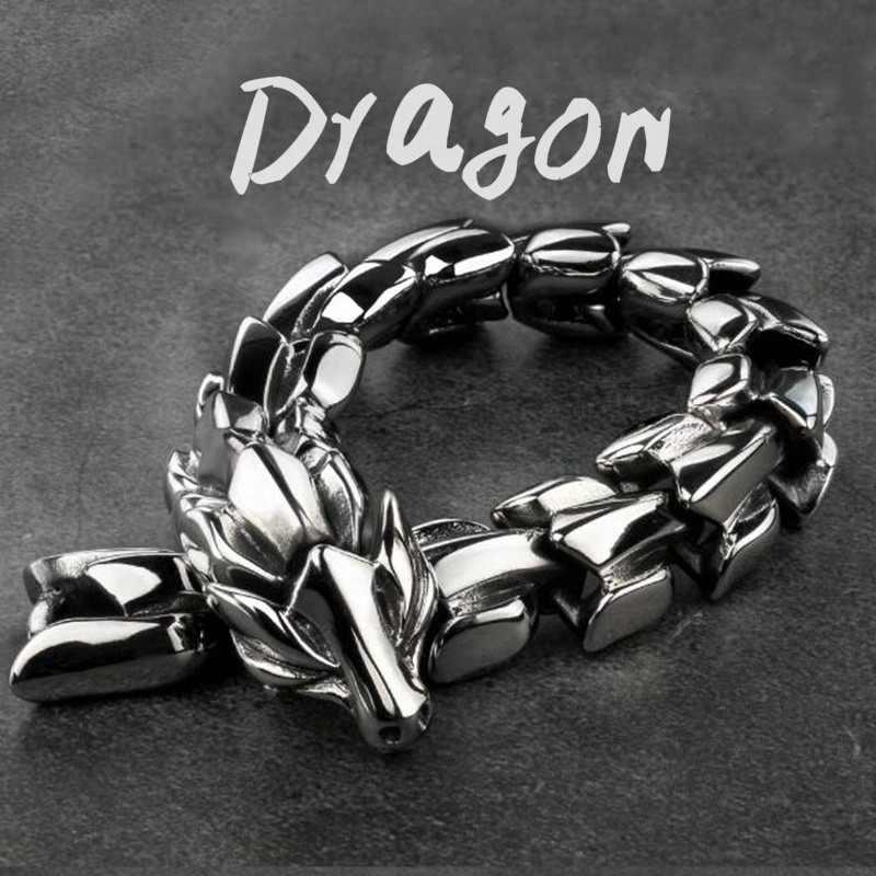 Bracciale drago bracciale retrò a catena lunga animale bracciale Trend bracciale Punk da uomo in metallo di alta qualità