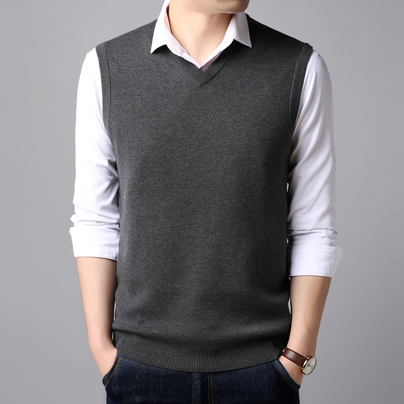 Cardigan Vest Spring Men's Fashion V-neck Sleeveless Knit Sweater Vest S Large Size S-XXXL Men's Boutique Casual Sweater Vest