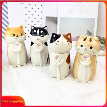 3D łapa kota kubek pies kubek para kot zwierząt kubek kreatywny kubek ceramiczny prezent urodzinowy z łyżeczka w pokrywce kubek wody śmieszne filiżanki do kawy tanie i dobre opinie JUDAI CN (pochodzenie) cartoon Mugs Chinese mainland ceramics Cartoon animal Safe packaging See details