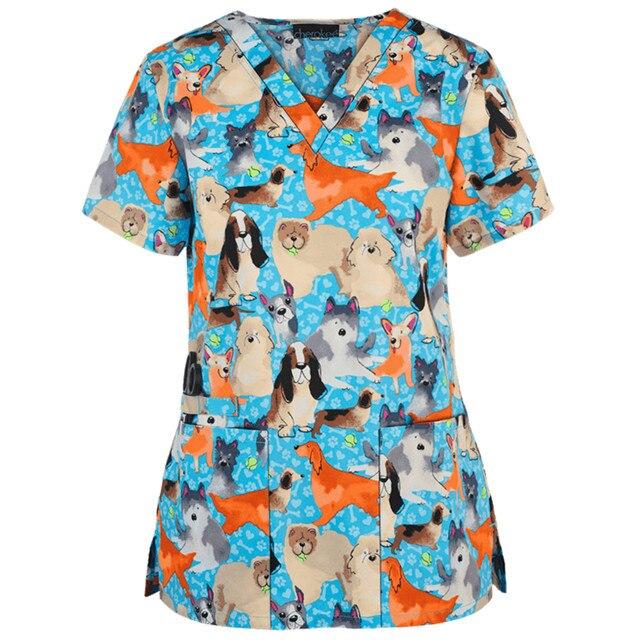 Working Uniform Women T-Shirts Print Scrubs Tops 2021 Summer Short Sleeve V-Neck Tee Working Uniform T Shirts женские футболки 1