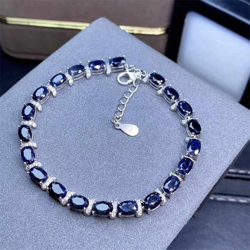 Luxury Natural Sapphire Bracelet  Blue Sapphire  Natural Sapphire Jewelry  White Gold Plated S925 Sterling Silver Sapphire Bracelet