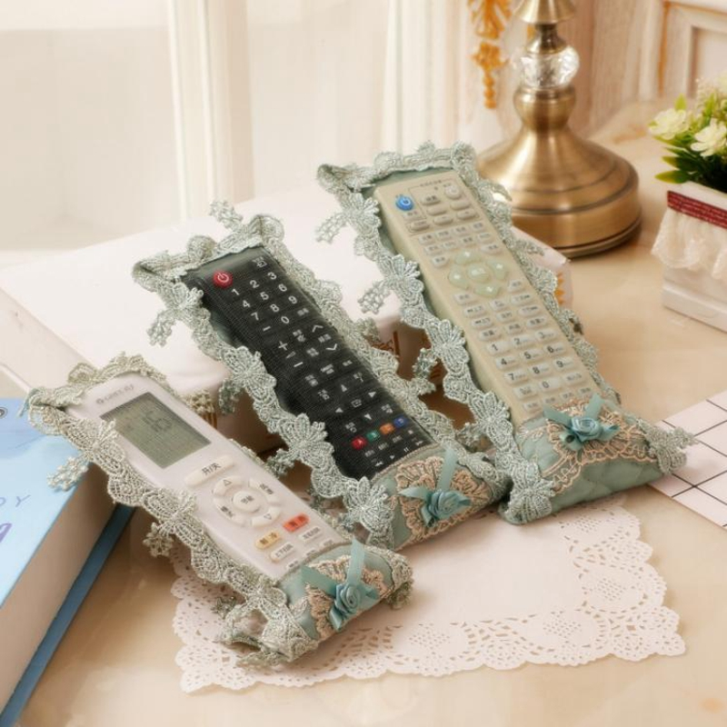 Lace Cover for Remote Control Fabric Lace Container Holder Dust Cover Storage Bag