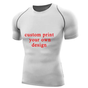 T-shirt na zamówienie Rashguards wydrukuj własny projekt męska koszulka kompresyjna krótki niestandardowy T-shirt topy tanie i dobre opinie Pełne Z okrągłym kołnierzykiem tops Z KRÓTKIM RĘKAWEM Raglansleeve wyszywana POLIESTER spandex Na co dzień Custom Design