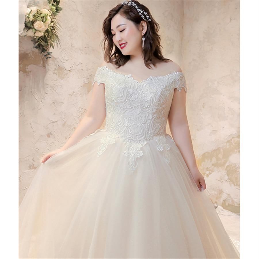 Boat Neck Wedding Dresses Plus Size Elegant Train Vestido De Novia 2019 T238 Free Shipping Off-Shoulder Champagne Wedding Gowns