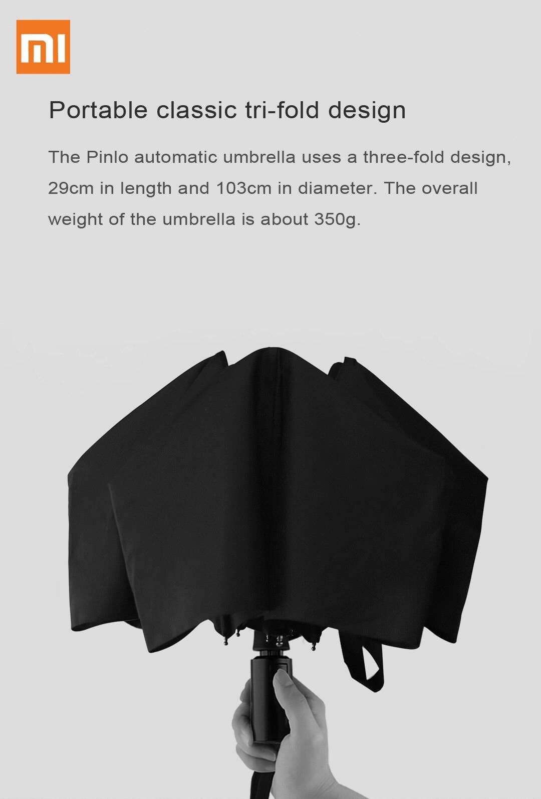 Зонт Xiaomi Pinlo автоматический Солнечный дождь алюминиевый ветронепроницаемый водонепроницаемый ультрафиолетовый луч