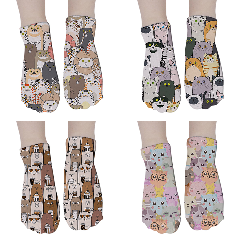 Cartoon Cute Dog Cat Socks Women Summer Printed Socks Unisex Cotton Short Funny Knee Sock Harajuku Women Socks 8S-DW111