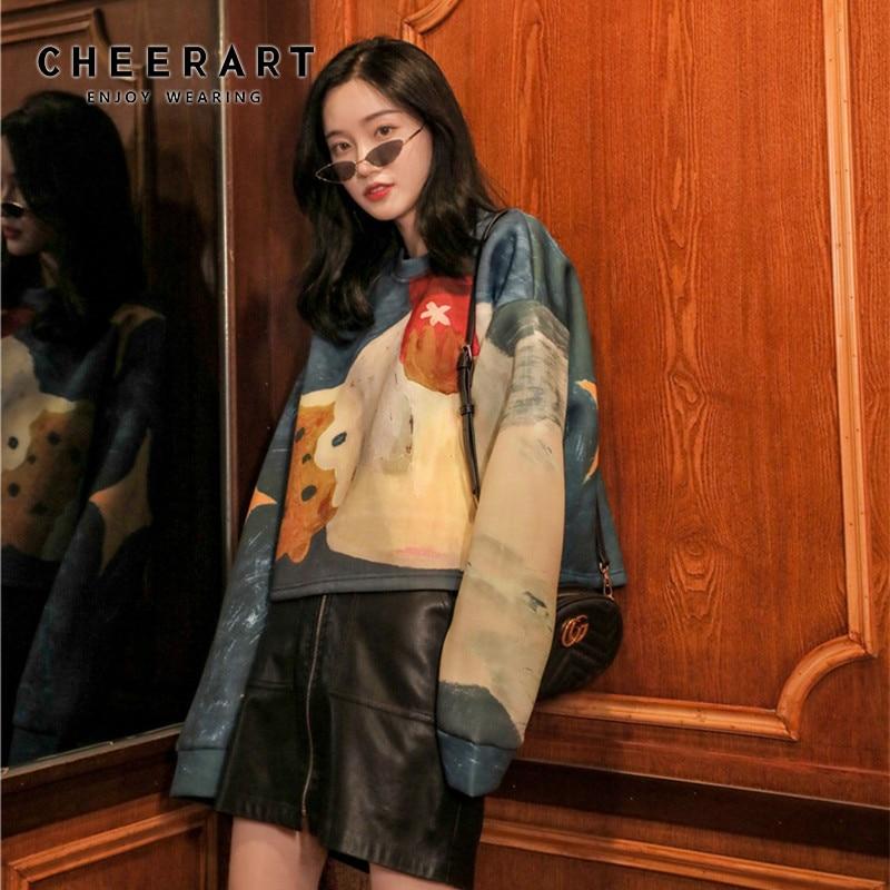 CHEERART Cropped Sweatshirt Women Bear Cute Hoodie Oversized Korean Sweatshirts Pullover Sweat Femme Clothing