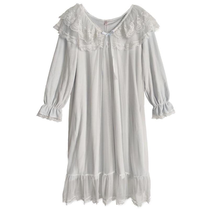 Pałac koszulka nocna damskie flanelowe z długim rękawem  sPp0M