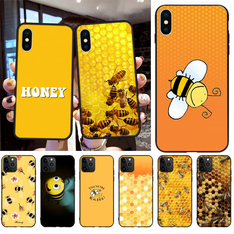 Yellow Honey Bee DIY Painted Bling Phone Case for iPhone 11 pro XS MAX 8 7 6 6S Plus X 5S SE 2020 XR case