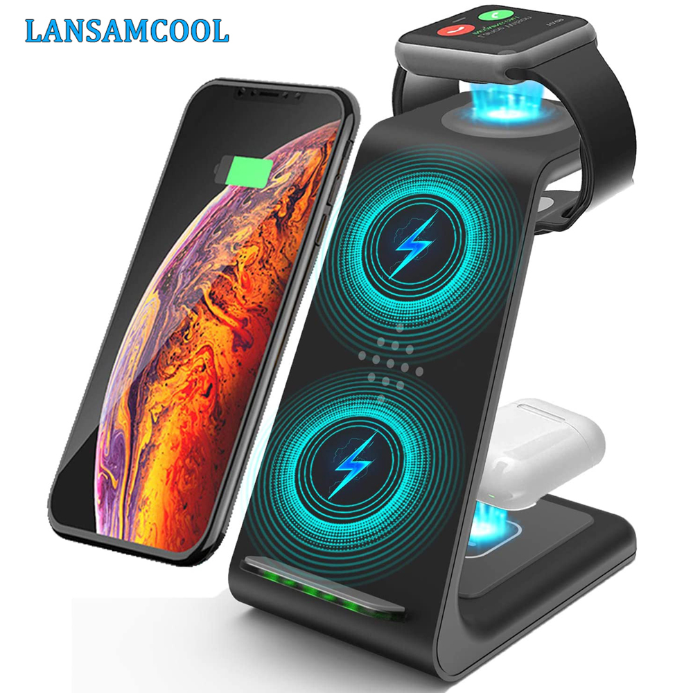 3 in 1 Wireless Charger Stand For iPhone 11/12 Pro Max Qi 15W Fast Charging Induction Chargers For Apple Watch AirPods Samsung