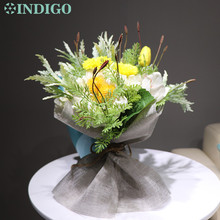 цена на INDIGO - New Style Yellow Flower Banquet Gift Hydrangea Daisy Tulip Tea Rose Artificial Flower Wedding Party Event Free Shipping