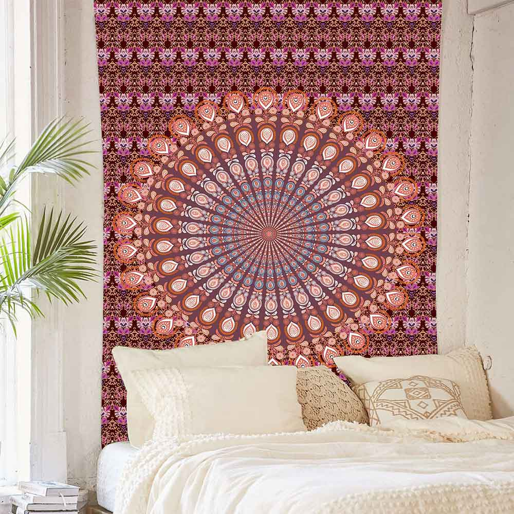 Simsant Mandala Bohemian Tapestry Indian Traditional Cotton Printed Tapestry Wall Art Backdrop For Apartment Decor