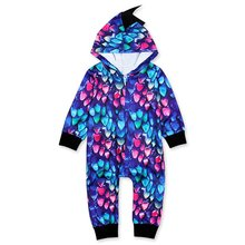 Childrens spring and autumn models boys girls dinosaur hooded long-sleeved jumpsuit romper clothes