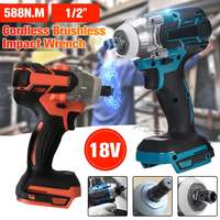 18V 588N.m Cordless Impact Wrench Electric Power Tool Rechargeable Brushless Motorized Wrench 1/2 Socket Handheld Tools