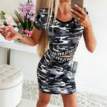Women Camouflage Skinny Short Sleeves Women's Set Camo O-Neck Short Tee Top Mini Slim Dress Two Piece In One Set(China)