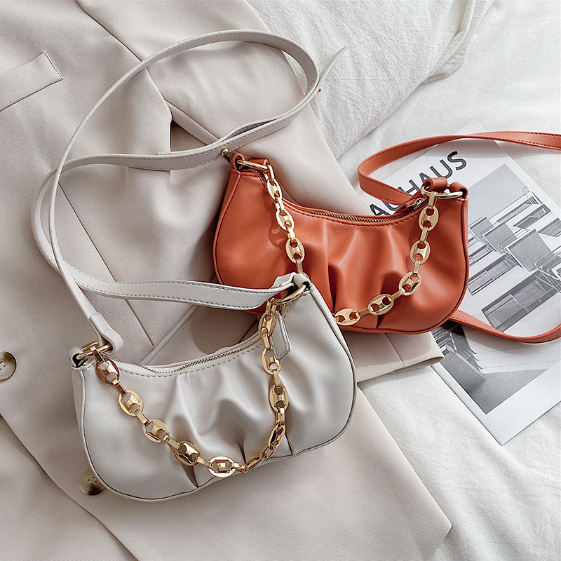 Small PU Leather Cloud Bag For Women 2020 Chain  Shoulder Messenger Crossbody Bags Lady Simple Travel Handbags
