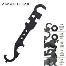 AR15 Combo klucz zamek klucz do nakrętek lufa klucz do nakrętek Buttstock Tube narzędzie akcesoria do broni myśliwskiej jelca narzędzie kaganiec