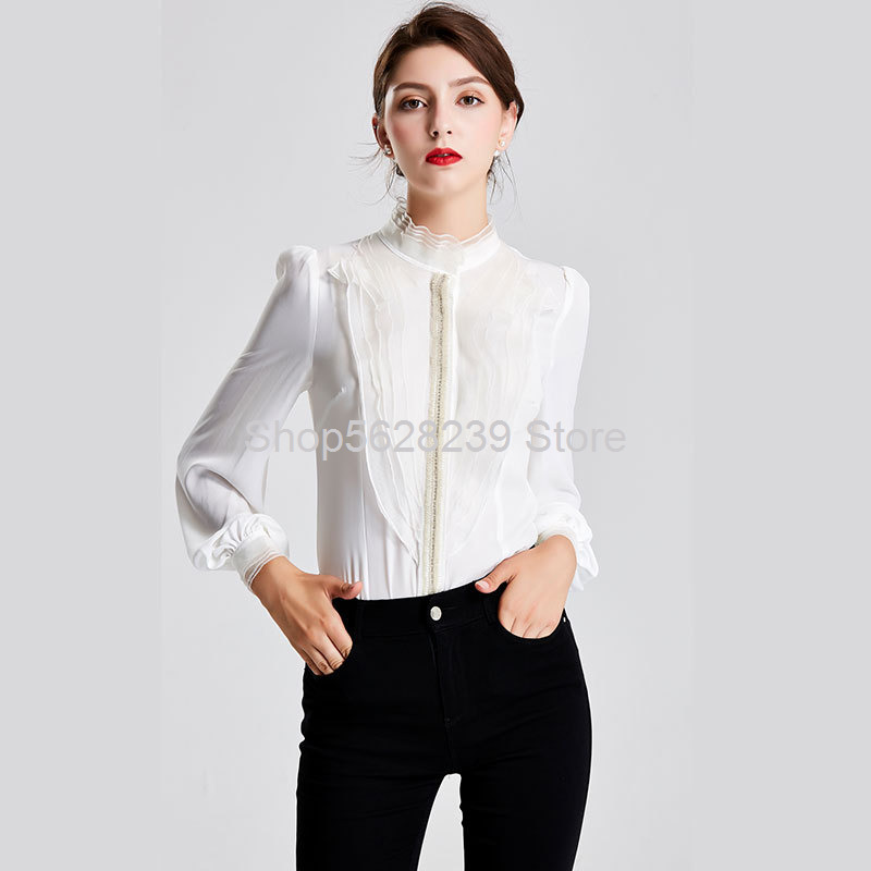 French Romantic 2020 Pack Nail Beads Lotus Leaf Edge Stand Collar Bubble Sleeve Slim Fit Temperament Slim White Shirt