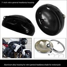 Universal Black 7 Motorcycle Lighthouse for Headlight Retro Motorbike Headlamp Cover Housing For KAWASAKI Honda