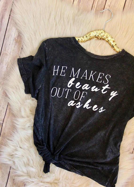 彼は美容アウトの灰 Tシャツクリスチャン神グレース Tシャツ女性イエス信仰希望愛 Tシャツ宗教綿トップスドロップ船