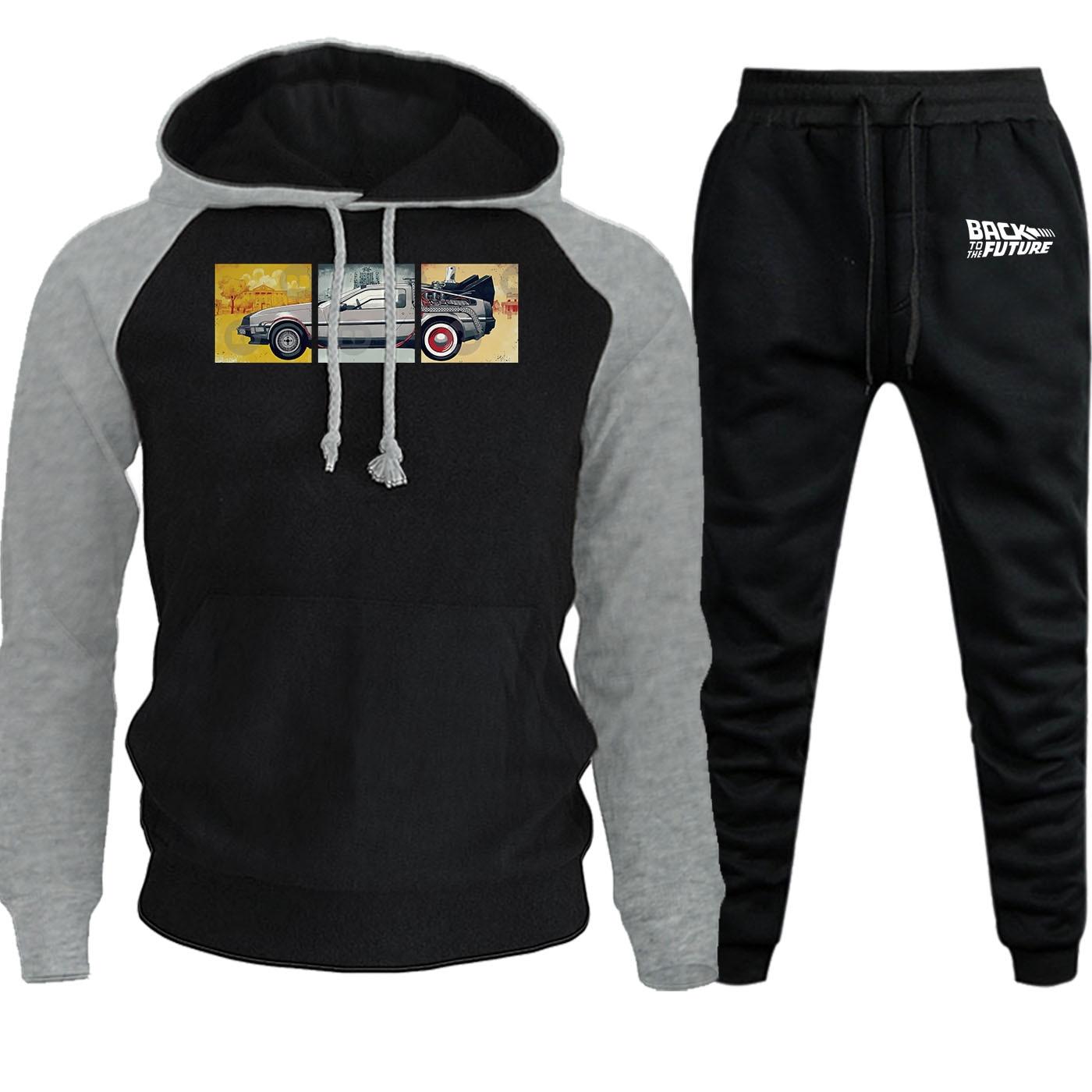 2019 Autumn Back To The Future Fleece Hoodies Raglan Men Streetwear Hip Hop Suit Sweatshirt Mens Hoodie+Sweatpants 2 Piece Set