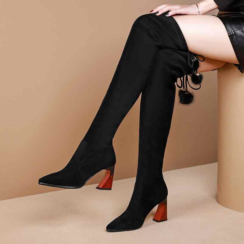 Krazing Pot moda bayan yumuşak streç çizmeler sivri burun yüksek topuklu sevimli dantel peluş kış kadın sıcak uyluk yüksek çizmeler L11