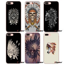 Voor iPhone X 4 4 S 5 5 S 5C SE 6 6 S 7 8 Plus Samsung Galaxy J1 J3 J5 J7 A3 A5 2016 2017 Grateful Dead Pins Inheemse Hoofd Schedel Case(China)