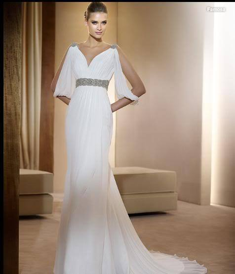 Free Shipping New Rhinestone Belt Sexy V Neck Chiffon Wedding Bridal Gowns White Evening Custom Size Mother Of The Bride Dresses