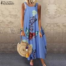 Dress Women Floral-Printed ZANZEA Bohemian Summer Plus-Size Sleeveless Maxi Vestido Casual
