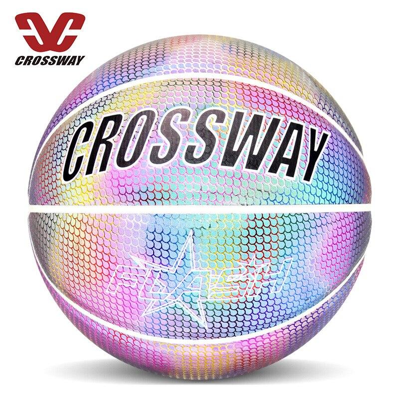Голографический светоотражающий баскетбольный мяч износостойкий светящийся ночной Светильник баскетбольный светящийся баскетбольный мяч с сумкой-2