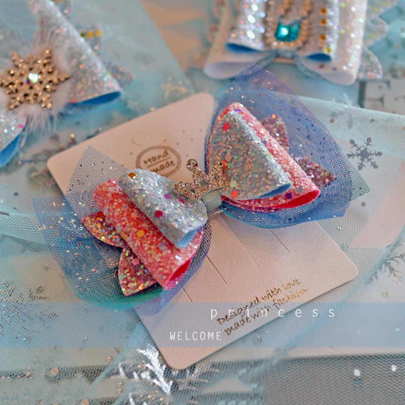6 sztuk/partia księżniczka korona spinki do włosów urocze kolorowe połysk brokat diament Hairbows Mesh ozdobna szpilka do włosów dziewczyny peruki imprezowe akcesoria