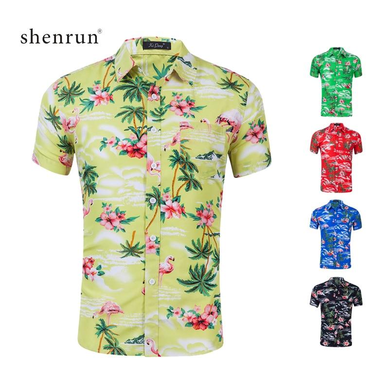 Shenrun Men Shirts Summer Short Sleeve Palm Tree Flamingo Print Beach Hawaiian Pattern Casual Shirt For Man Red Blue Green Black