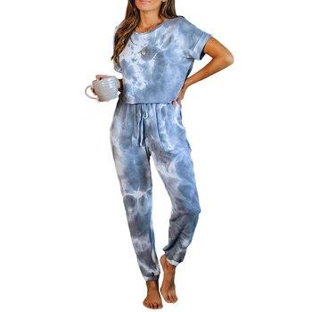 קיץ פיג מה סט חליפת עניבה לצבוע הלבשת Nightwear נשים קצר שרוול חולצה ושרוך מכנסיים 2 חתיכות Loungewear Homewear