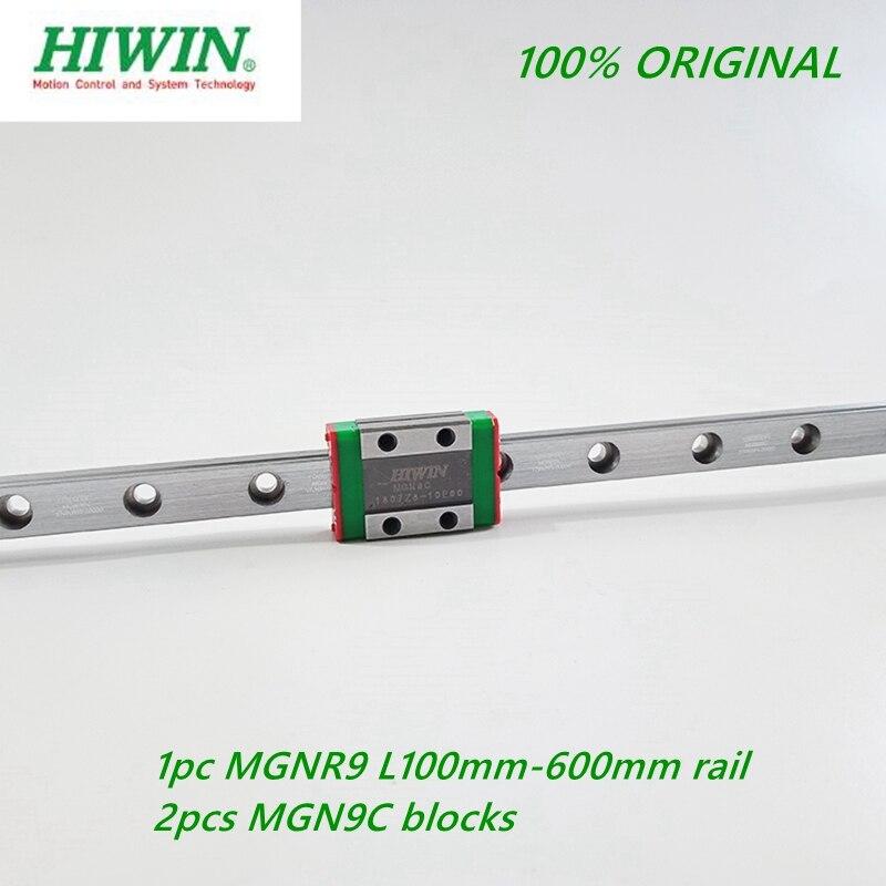 1pc Hiwin 레일 MGNR9 -L 100 200 250 300 330 400 450 500 550 600mm 레일 + 2pcs MGN9C 선형 블록 캐리지