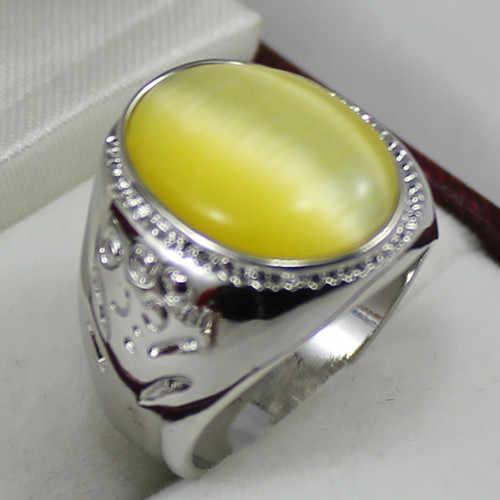 Noble! 6 สี 13X18 มม./สีเขียว/สีม่วง/สีเหลือง/สีแดง/สีเทา Cat's Eye หินแหวนผู้ชาย