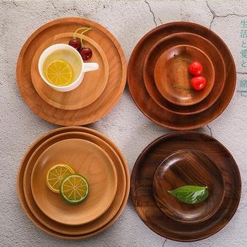 Zestaw stołowy klasyczny okrągły talerz z litego drewna talerz potraw z owoców spodek taca herbaciana deser płytki talerz tanie i dobre opinie CN (pochodzenie) Stałe Owalne Wood Solid wood See as the Picture