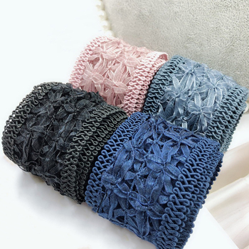 1yard 5cm Wide Lace Flower Ribbon Handmade Bowknot Hair Clips Accessories Fabric Craft Headbands DIY Jewelry Making Materials