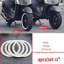 Pegatinas de neumático blanco de 12 pulgadas, 4 Uds., pieza de armadura lateral de goma, Clip Vintage para Piaggio Vespa GTS GTV SPRINT PRIMAVERA 150, SCOOTERS de 12