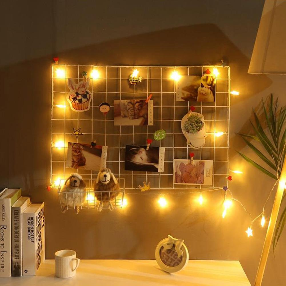 35*35cm Ins Style Metal Grid Wall Postcards Iron Mesh Photos Frame Display Home Bedroom Decoration Square Shelf Storage Shelves