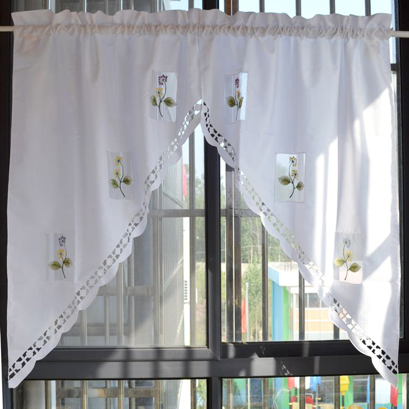 Floral Embroidered Roman Curtain Short Sheer Window Valance Coffee Half-curtain For the Kitchen Living Room Home Drapes Panel